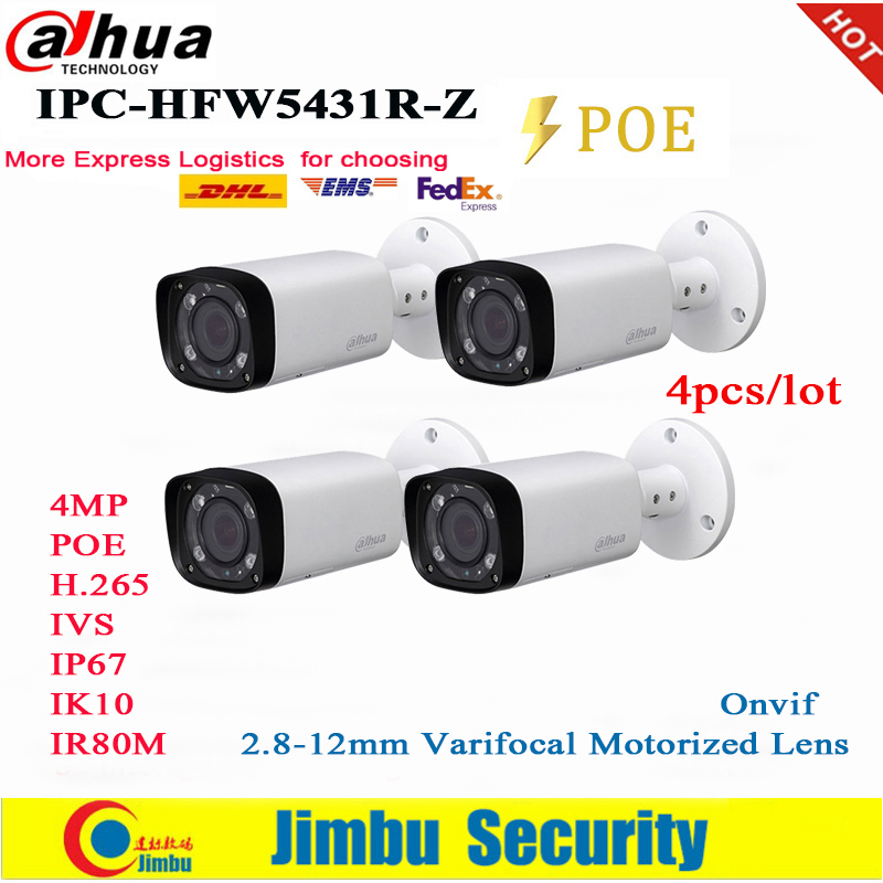 Dahua 4MP IP Camera POE IPC-HFW5431R-Z Replace IPC-HFW4431R-Z 2.8-12mm 4pcs/lot Varifocal Motorized Len H.265 / H.264  IR80M