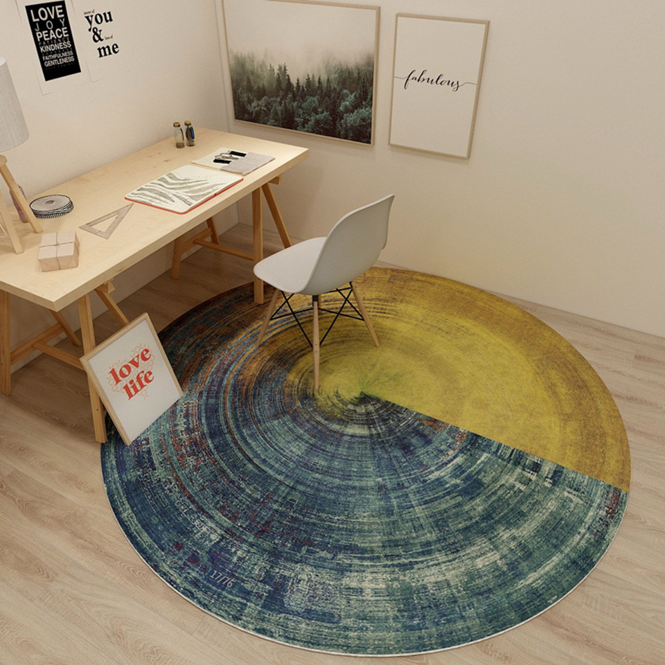 Wood Grain Printed Floor Mats For Living Rooms Tree Annual Ring Round Bedroom Rug Computer Chair Mat Circle Carpet For Boys image