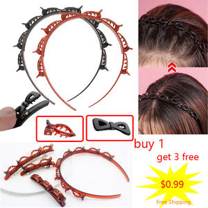 Headband Hairpin Hair-Accessories Womens Braided Punk-Knitting Plastic Beauty Front Double-Layer