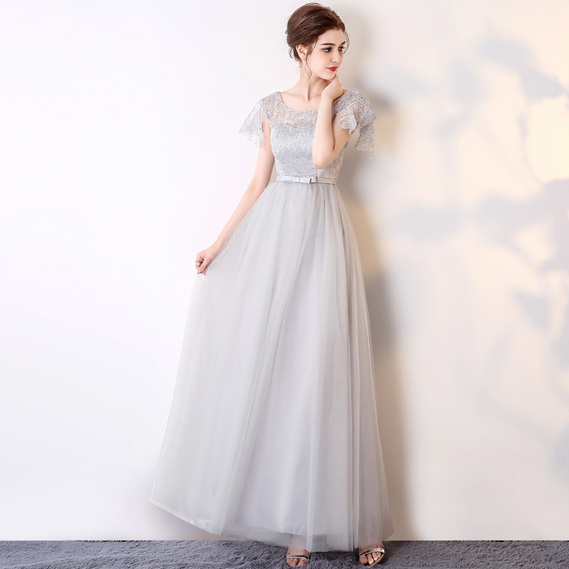 2019 New Noble Grey O Neck Slim Long Bridesmaid Dress Fashion Plus Size Custom Made Lace Up Cheap Party Prom Gown A-line Dress