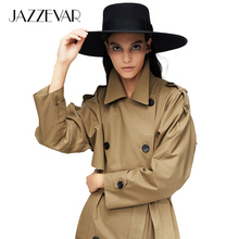 JAZZEVAR 2019 New arrival autumn trench coat women cotton washed long double-bre