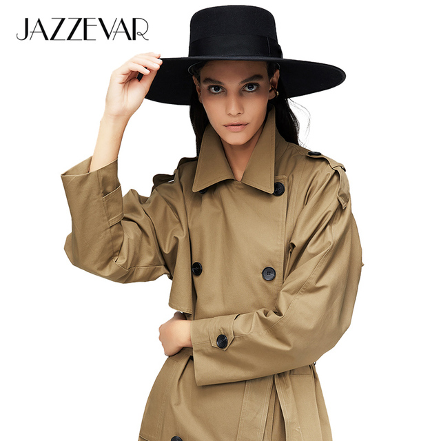 JAZZEVAR 2020 New arrival autumn trench coat women cotton washed long double breasted trench loose clothing high quality 9013 1