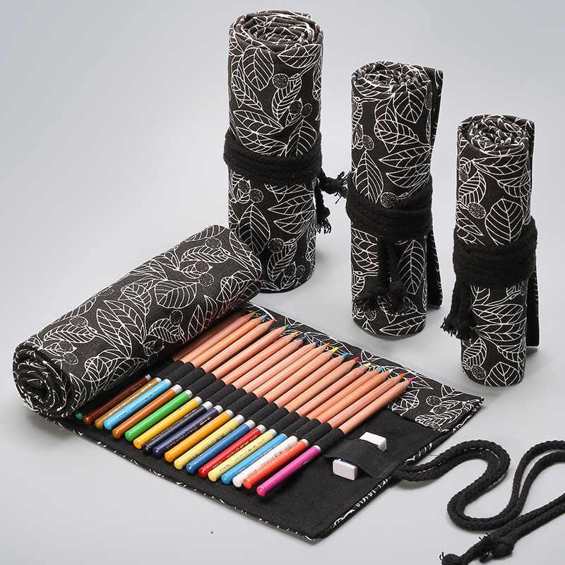1PCS 12/24/36/48 หลุมผ้าใบโรงเรียนดินสอม้วนPencilcaseขนาดใหญ่น่ารักLeaf Penalสำหรับหญิงชายปากกากระเป๋าเครื่องเขียน