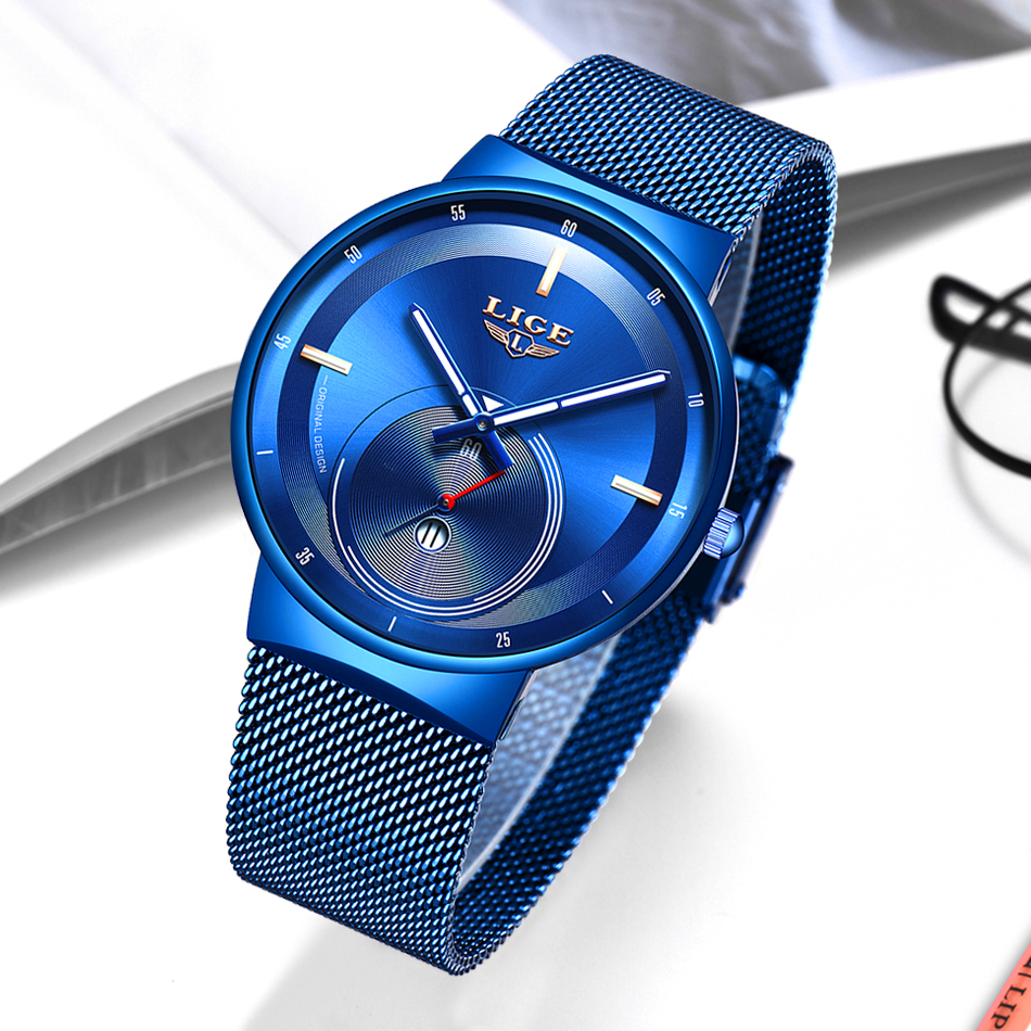 H143b112c404d4bfaa5c6462bdfc860fd9 - Watch Women And Men Watch LIGE Top Brand Luxury Ladies Mesh Belt Ultra-thin Watch Waterproof Quartz Wrist watch Reloj Mujer