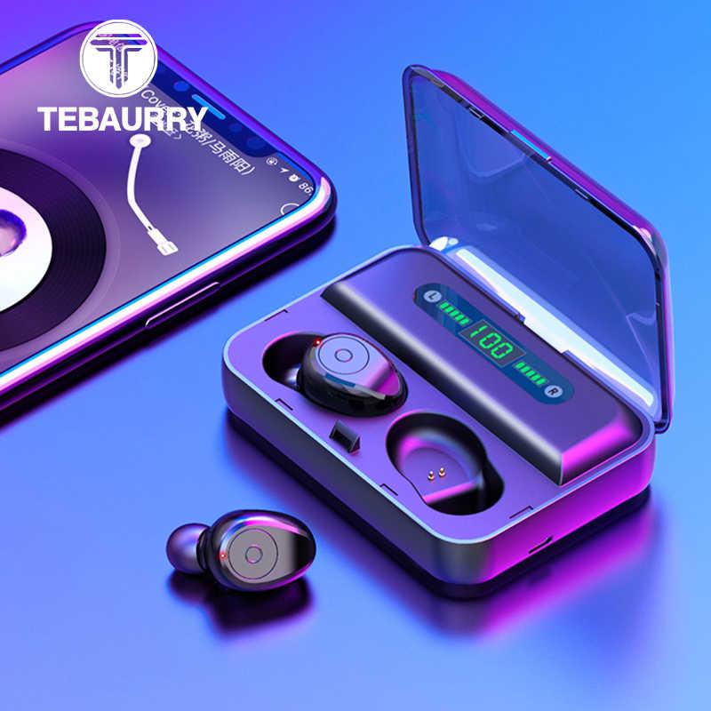 TWS słuchawki Bluetooth 8D Stereo bezprzewodowe słuchawki sportowe słuchawki Bluetooth z podwójnym mikrofonem wyświetlacz LED uchwyt na telefon banku mocy