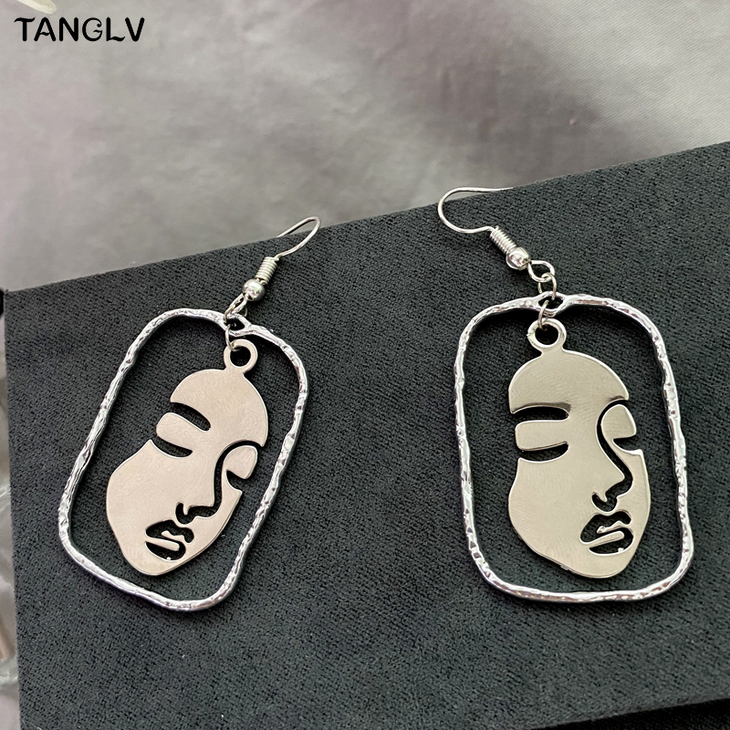 New Silver Color Female Facial Alloy Drop Earrings For Women Simple Geometric Earring Wedding Fashion Jewelry Trendy Accessories