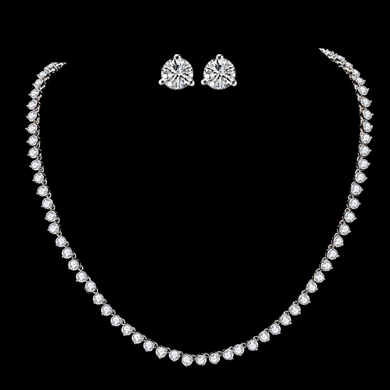 luxury classic AAAAA CZ jewelry set for wedding bride bridal necklaces stud earring for Women jewelry anniversary gift X001S