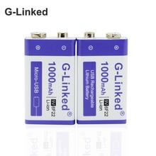 G bağlı 6F22 9V USB pil 9V Li ion1000mAh ı ı ı ı ı ı ı ı ı ı ı ı ı ı ı ı ı ı ı ı polimer şarj edilebilir pil USB lityum 9v pil oyuncak uzaktan kumanda için