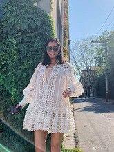 цена на 2019 Hollow Out Camisole Lantern Sleeve Willow Nail Sexy Summer Clothes Women Lace Beach Casual Boho Mini Dress Elegant T Shirt