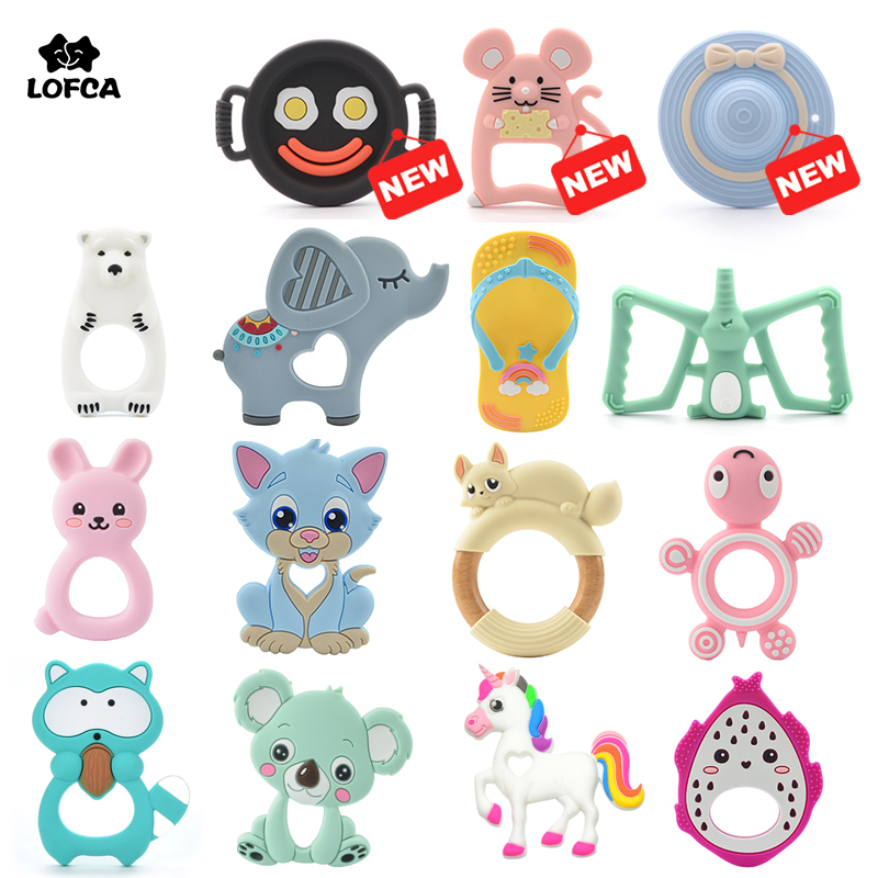 LOFCA 1pc Baby Teething Toys Cartoon Liquid Ice Cream Silicone Teether Pendant Raccoon Necklace Accessories Infant Chew Toys DIY(China)