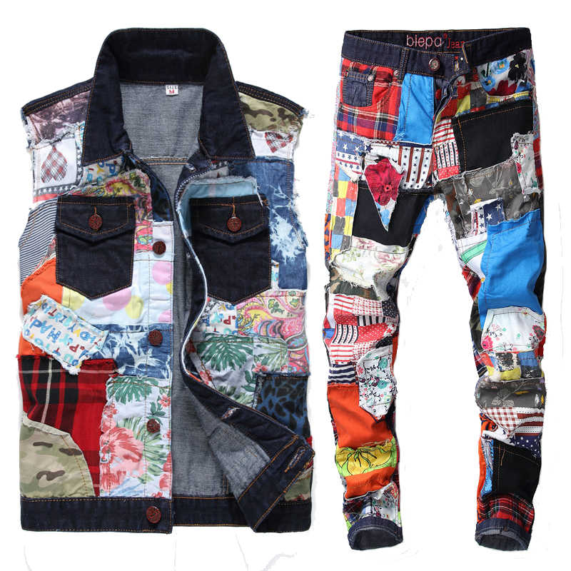 2020 Nieuwe Mannen Hip Hop Patch Casual Denim Tweedelige Set Gewassen Alle-Match Cowboy Vest + Straight slanke Jeans Kleurrijke Jeans Sets