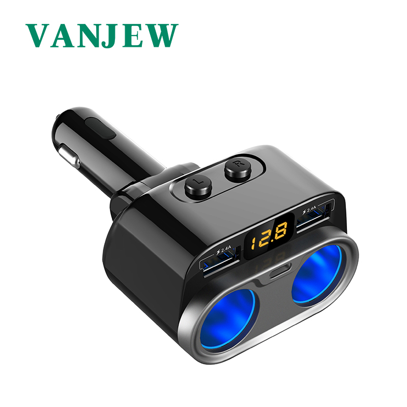 VANJEW C47 Car Power Adapter Cigarette Lighter Socket Splitter Car Charger Voltage Detection TYPE C 4.8A 2 USB Ports Chargers
