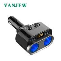 Vanjew c47 adaptador de energia do carro isqueiro soquete divisor carregador de carro tipo detecção tensão c 4.8a 2 portas usb carregadores|Adaptador de energia| |  -