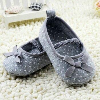 Newborn Kids Baby Girl Shoes Polka Dot Bowknot Cotton Crib Shoes Prewalker 0-18M kids polka dot tee