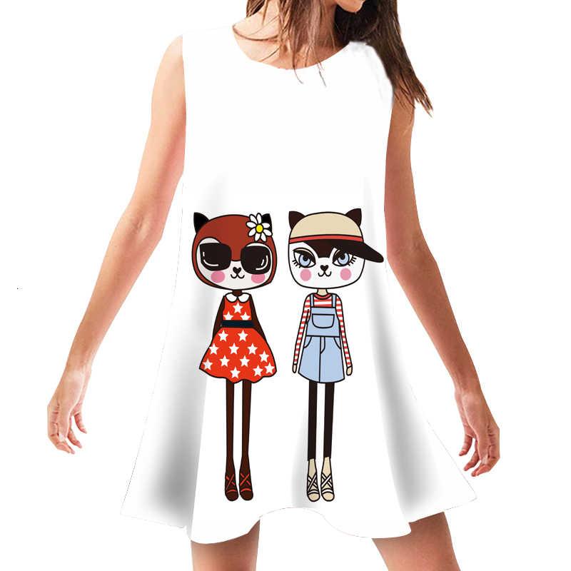 Yaz kadın elbiseler gevşek kolsuz giyim sevimli karikatür baskı plaj kıyafeti Casual O boyun Sundress kadın elbise Feminina