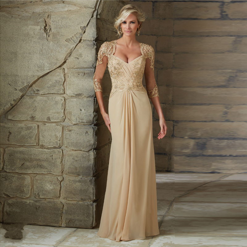 Elegant Stylish Cap Sleeves Ruched Bodice Beaded Champagne Chiffon A-line Mother Of The Bride Dresses 2016 Appliques