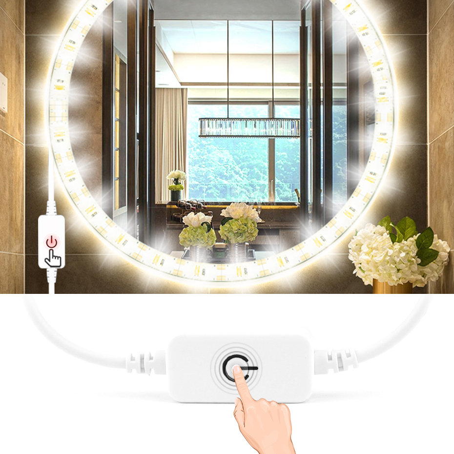 Waterproof Led Strip Mirror Light Bathroom Touch Control Dimmable DC5V USB Dressing Table Strip Led Mirror Makeup Light 1m 3m 5m