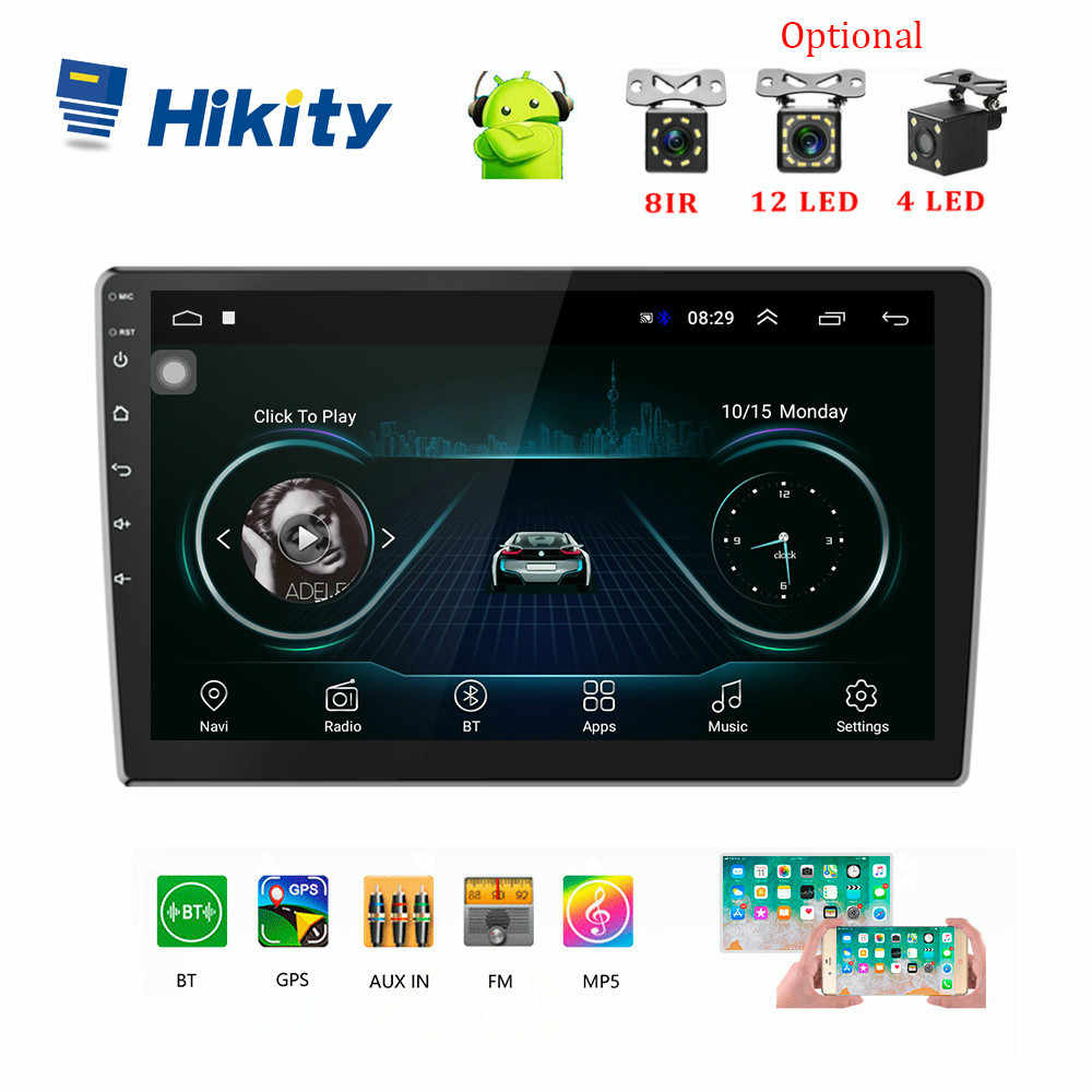 "Hikity 10.1 ""/9"" Car Multimedia Speler 2 Din Android Auto Stereo Radio Bluetooth Wifi Audio Mirrorlink MP5 speler Met Achteruitrijcamera"