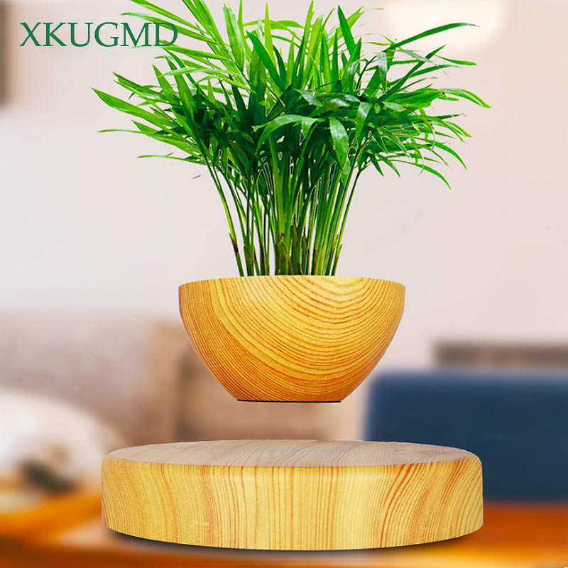 UE / US / AU / UK PLUS Magnetic Suspension Flower Pot Office Bonsai Ornamental Suspended Plant Semicircular Plant Pot Craft Gift