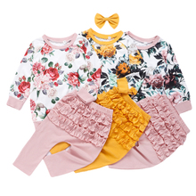 JXYSY Toddler Kid Baby Girls Clothing Set Ruffles Floral Top + pleated pants Spring Autumn  Girls Clothes Children Costumes jxysy toddler kid baby girls clothing set ruffles floral top pleated pants spring autumn girls clothes children costumes
