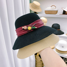 Designer Hat Fisherman Bucket Hat Satin Ribbon Female Seaside Vacation Anti-UV Summer Beach Hat Basin Cape Boinas Para Mujer