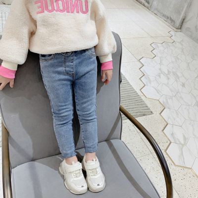 Baby Girl Jeans 2020 New Girls' Pants Fashion Slim Fit Plus Velvet Thick Jeans Toddler Denim Pants Jeans Baby Cowboy Trousers