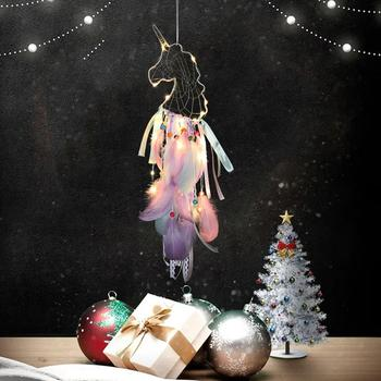 New Lighting Dream Catcher Hanging DIY 20 LED Lamp Feather Crafts Wind Chimes Girl Bedroom Romantic Hanging Decoration Gift