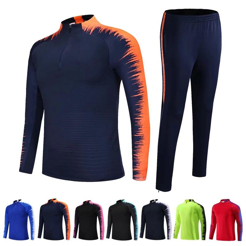Kids Adults Soccer Jerseys Sets Survetement Football Kits Men Child Running Jackets Sports Training Tracksuit Uniforms Suit 1