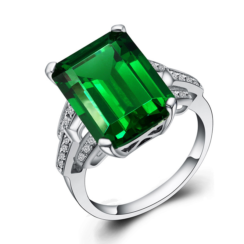 WEGARASTI Silver 925 Jewelry Emerald Ring Green Gemstone Silver 925 Women's Trendy Rings Party Engagement Ring Fine Jewelry