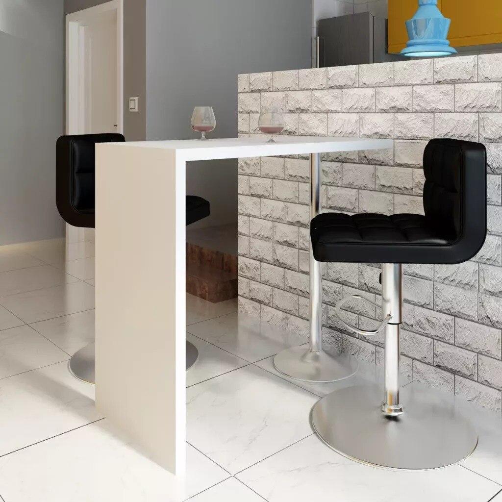 VidaXL барный стол, 1 стальная ножка, высокий глянцевый стоячий барный стол, белый домашний журнальный барный столик, барная мебель для дома, бара, настольный стол V3