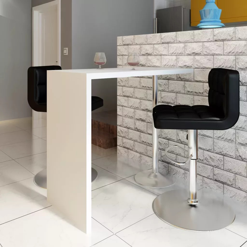 VidaXL Bar Table MDF 1 Steel Leg High Glossy Standing Bar Table White Household Coffee Bar Tables Bar Furniture Home Bar Table