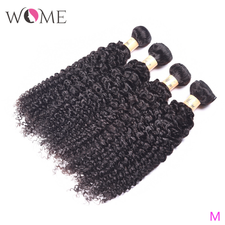 WOME Kinky Curly Hair Malaysian Human Hair Bundles Jerry Curls 1/3/4 Bundles 10-26 Inches Natural Color Non-remy Hair Extensions