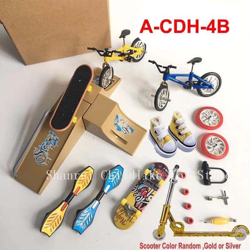 Mini Finger Skateboarding Fingerboard BMX Bicycle Finger Scooter Shoes Skate Boards Mini Bikes Toys For Children Boys Kids Gifts