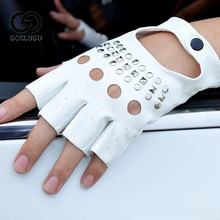 Black PU Leather Fingerless Gloves Solid Female Half Finger Driving Women Fashion Punk Mittens