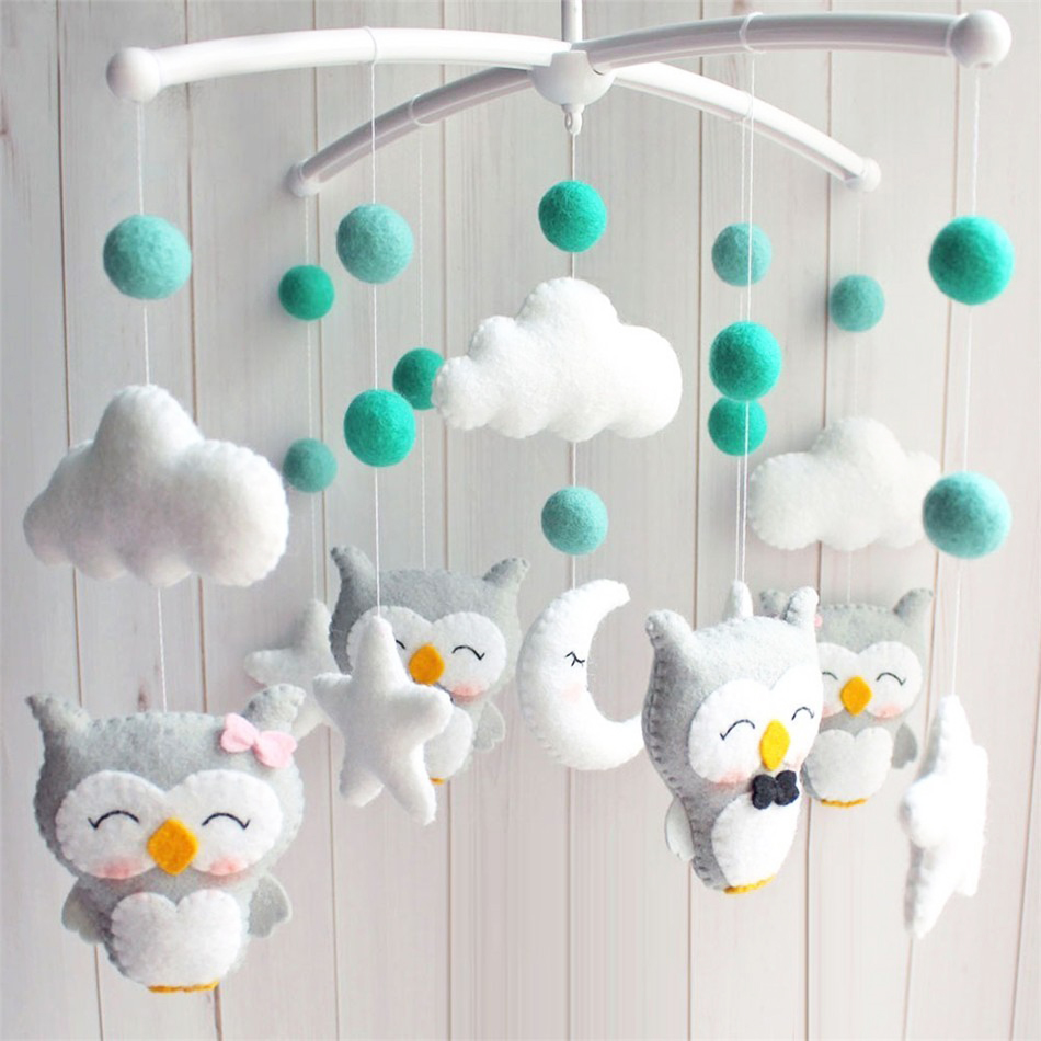 Baby Toys 0-12 Months Baby Rattles Mobile For Crib Music Box DIY Bed Bell Material Package Pregnant Mom Handmade Toys For Kids
