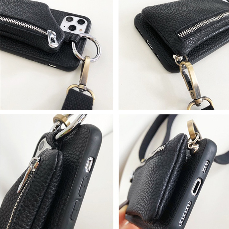 Crossbody Canvas Lanyard Zipper Wallet Phone Case for Samsung S20 Ultra S8 S9 S10 Plus S10E S7 Edge Note8 Note9 Note10 + Cover