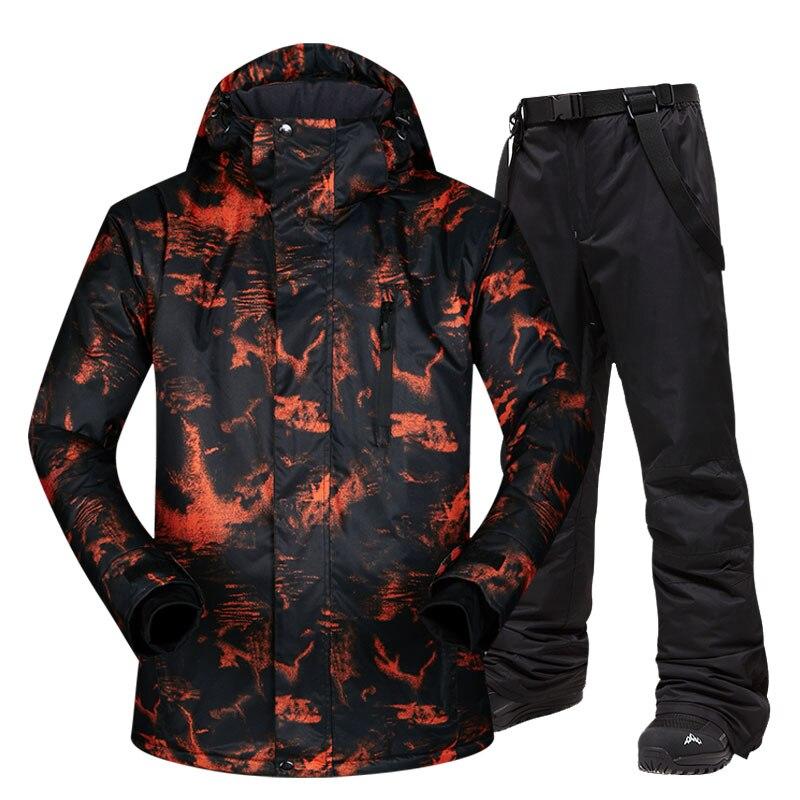 Veste de Ski hommes chaud hiver Ski et snowboard costume veste + pantalon mâle coupe-vent imperméable porter des marques d'hiver hommes Ski costume