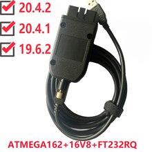 VAG COM 20.4.1 VAGCOM 20.4.2 HEX V2 USB ממשק עבור פולקסווגן אאודי Skoda VAG 20.4.1 רב שפה ATMEGA162 + 16V8 + FT232RQ