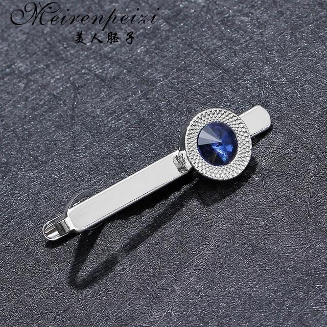 Купить роскошные запонки для мужчин и женщин с синим цирконием со стразами