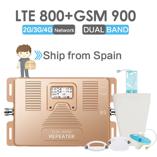 Walokcon 4G LTE Cellular Signal Repeater GSM 900 LTE 800 4G Cellular Booster GSM Band 20 Signal Amplifier 70dB Gain LCD Display