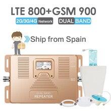 Walokcon 4G LTE Repeater GSM 900 LTE 800 4G Cellular Booster GSM 20 สัญญาณเครื่องขยายเสียง 70dB GainจอแสดงผลLCD