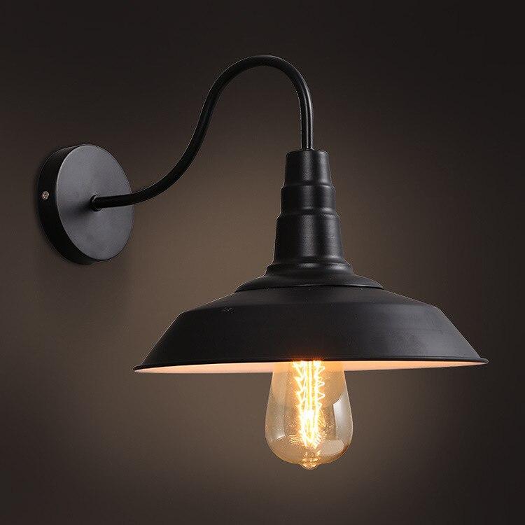 System Industry Wind Corridor Balcony Aisle Restaurant Bar Nostalgia Originality Personality Rh Wrought Iron Lid Wall Lamp