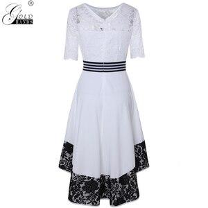 Image 4 - Ouro mãos outono vestido feminino elegante sexy oco para fora branco rendas vestido de festa longo casual plus size magro vestido de baile vestidos maxi