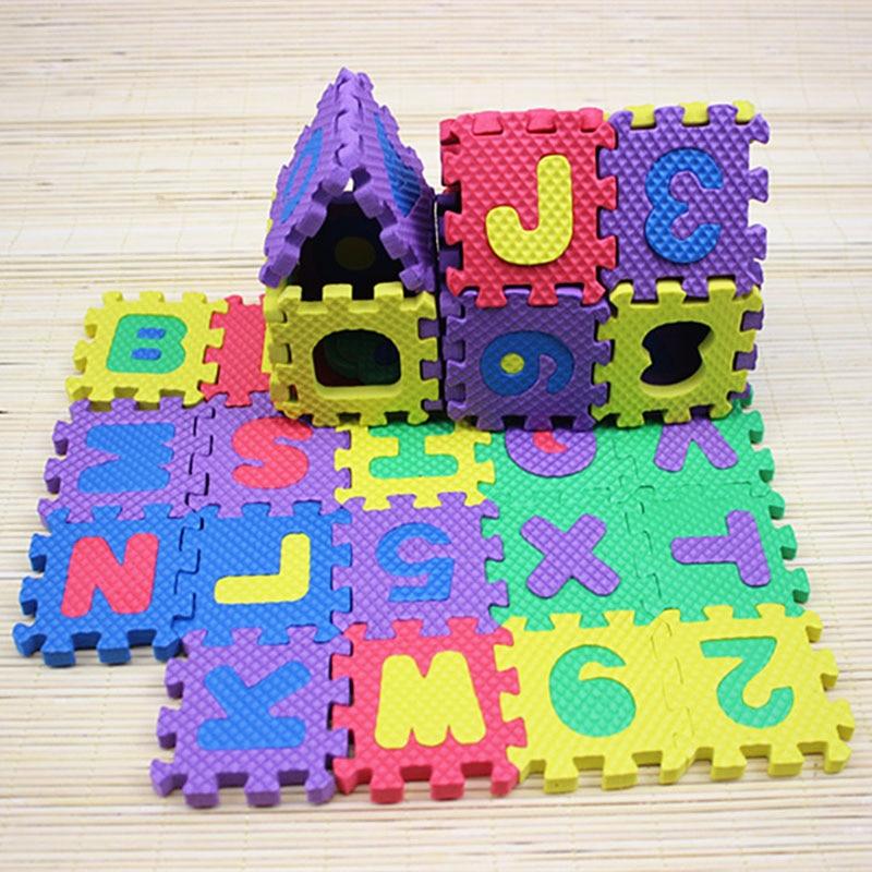 36 Pcs Children Mini EVA Foam Alphabet Letters Numbers Floor Soft Baby Mat 3D Puzzle Kids Educational Toys