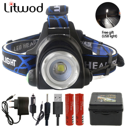 Litwod Z15 Led Headlamp T6/L2/V6 Headlight Waterproof Lantern 4 Mode Waterproof Head flashlight Torch for 18650 Battery