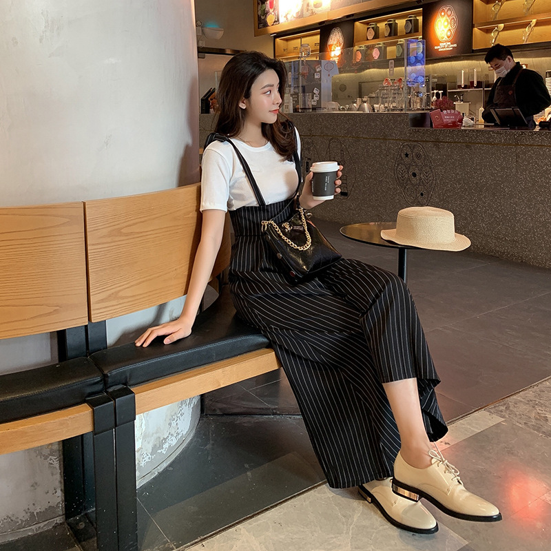 New Style Korean-style College Style 2019 Summer Vertical Striped Slimming Loose-Fit One-piece Wide Leg Suspender Pants Women's
