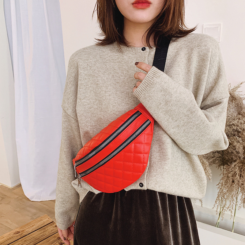 Fashion Diamond Women Waist Bag Double Zipper Casual Fanny Packs Ladies Travel Package Phone Money Bum Bags Female Belt Wallet