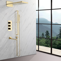Bathroom Thermostatic Rain Shower Faucet Set Gold Brass Bathroom Shower Faucets Wall Mounted Bath Shower Mixer Shower Head Taps