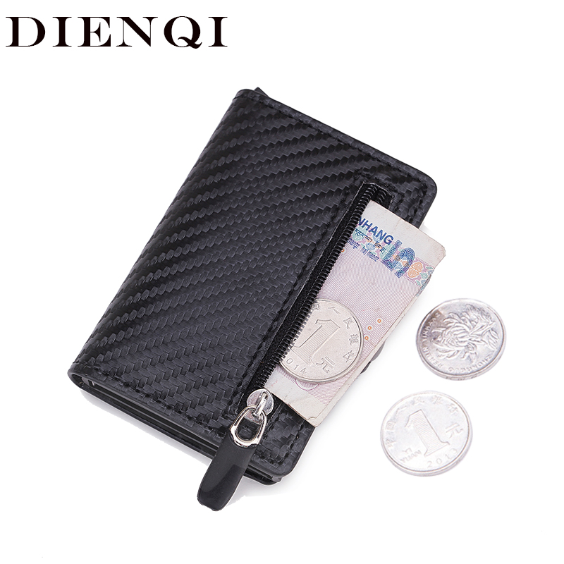 DIENQI Carbon Fiber Wallets Men Rfid Card Holder Slim Wallet Magic Trifold Leather Thin Mini Wallet Small Money Bag Women Purses