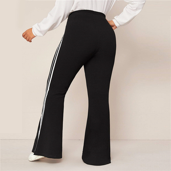 Plus Size Black Striped Side Flare Leg Joggers Women Spring Autumn Pants